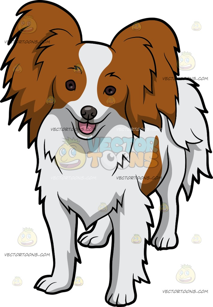 Papillon clipart cartoon Papillon Cartoon A Happy dog