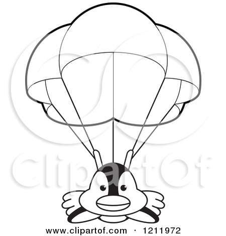 Parachute clipart outline And white black white Parachute
