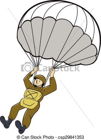 Parachutist clipart army parachute Csp29841353 Cartoon of Clipart
