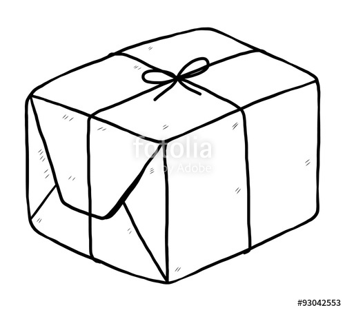 Parcel clipart black and white Drawn and white parcel /