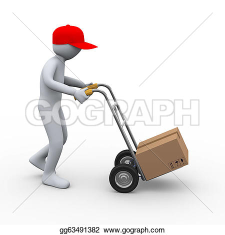 Parcel clipart delivery guy Drawing hand parcel truck 3d