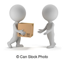 Parcel clipart package delivery 3d  royalty people Illustrations