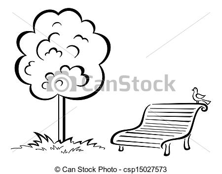 Park clipart outside playground Tree bench on contour and