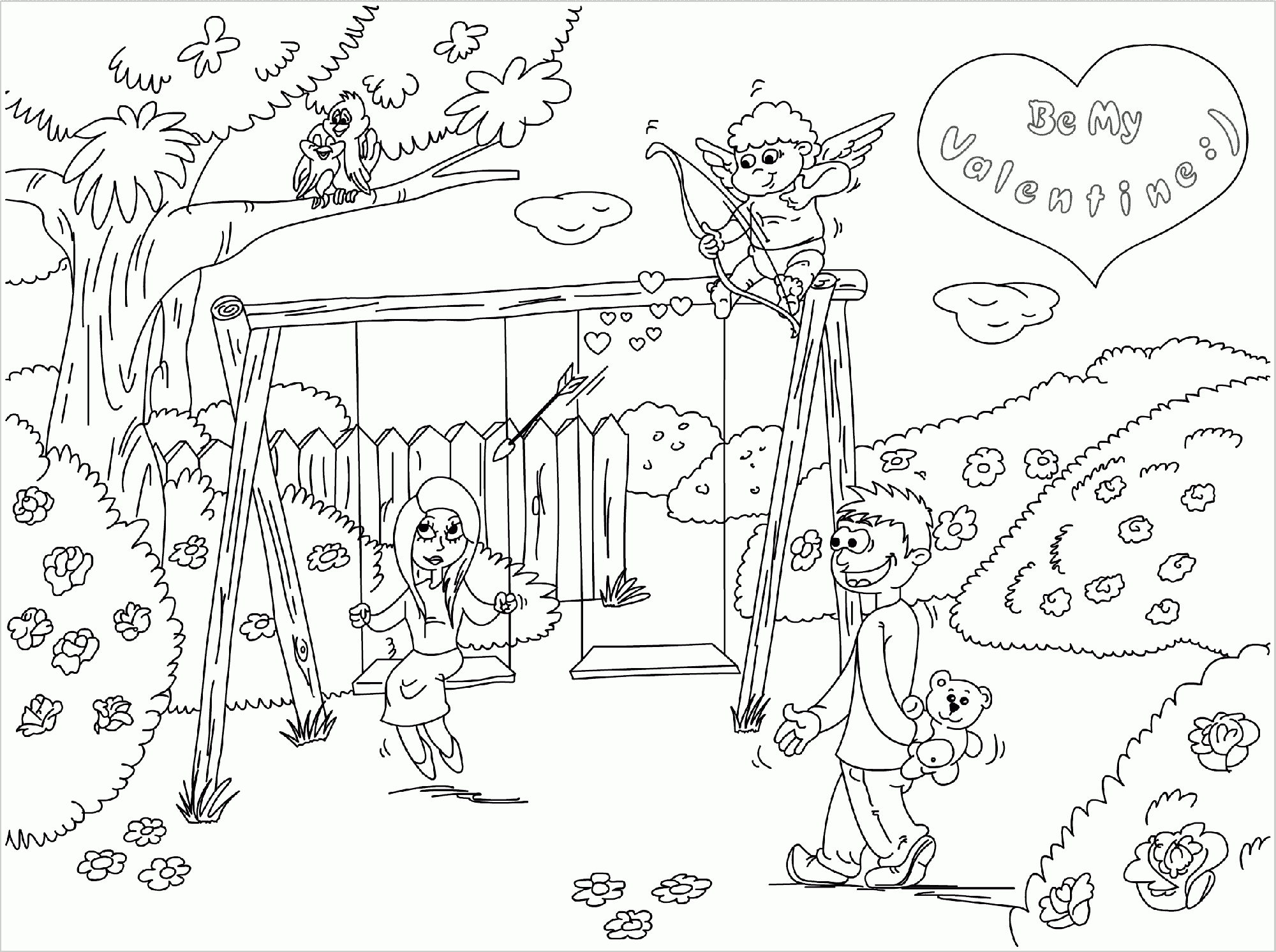 Drawn scenery park playground Pages Art Of Coloring Scenery