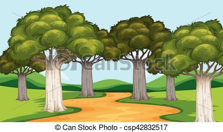 Park clipart trail Park of Park scene trees