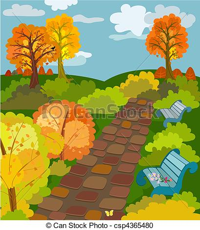 Park clipart park background Park Vector  Autumn csp4365480