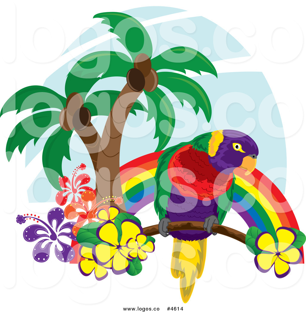 Parrot clipart rainbow color A  with and a