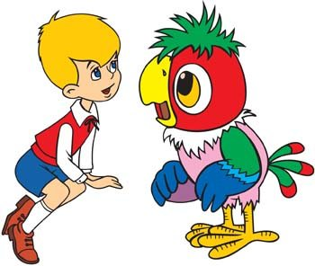 Parrot clipart talking bird Wings Graphics with talking Boy