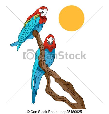 Parrot clipart tree drawing Of Vector Tree Sitting Parrots