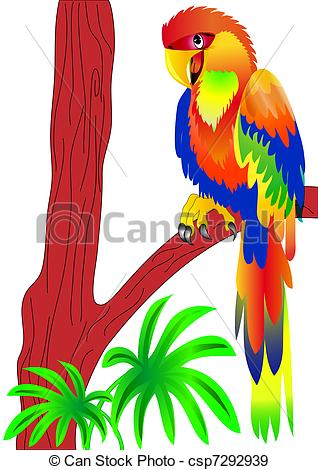 Parrot clipart tree drawing Of EPS on sitting parrot