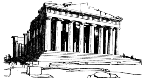 Parthenon clipart black and white Ancient and of a –