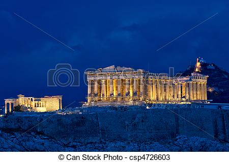 Parthenon clipart palace Stock Acropolis  Greece night