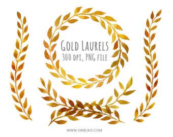 Parthenon clipart wreath Laurels Watercolor Gold Laurels Wreath