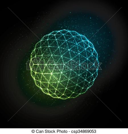 Particle clipart animated science Glowing 3D particles illuminated csp34869053