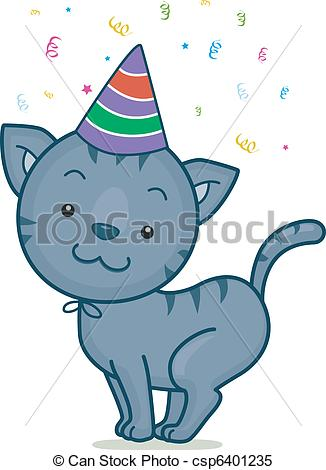 Birthday clipart cat Wearing of a Illustration of