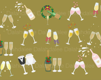 Champagne clipart party Party art Champagne digital art
