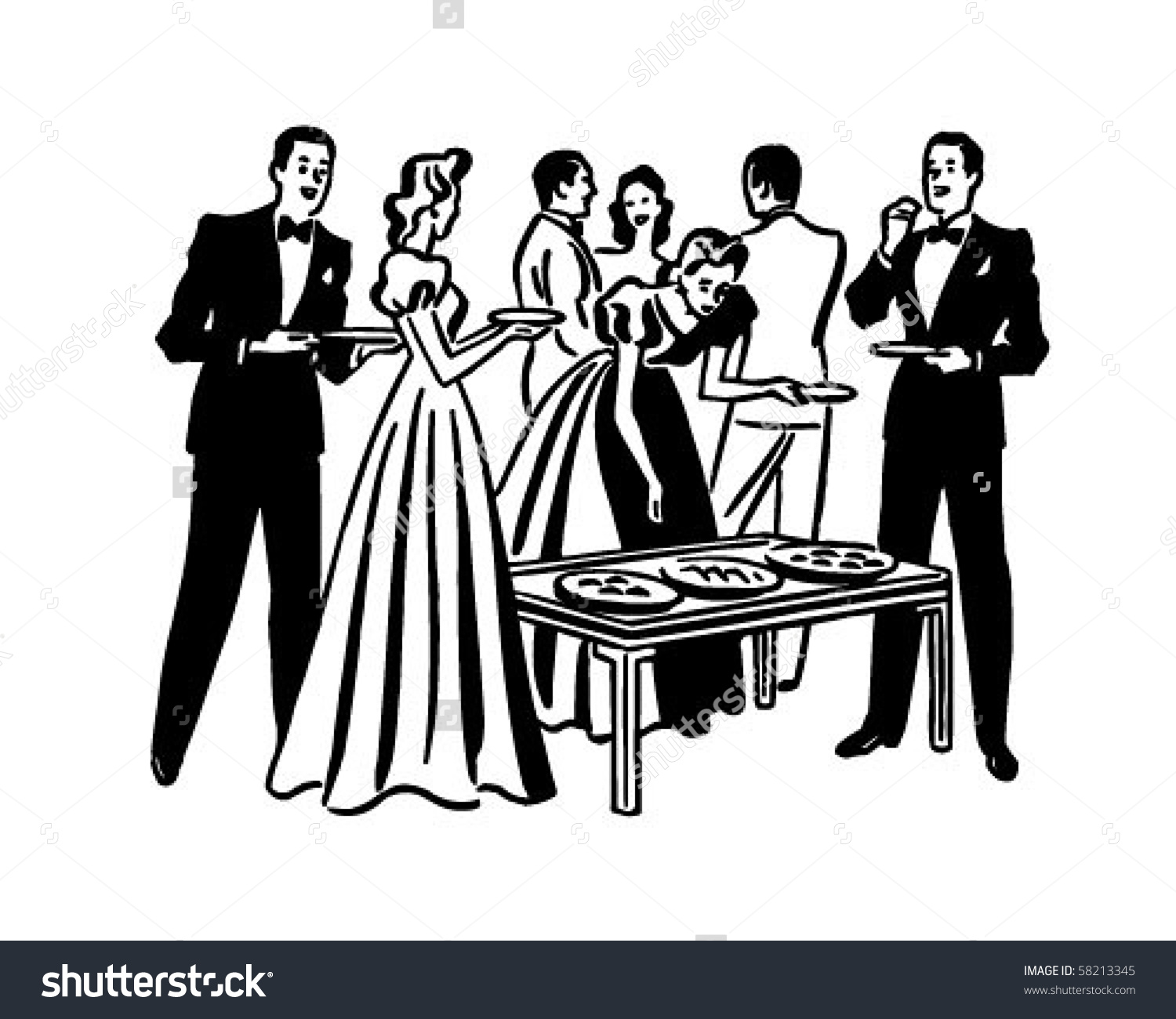 Retro clipart dinner party #1