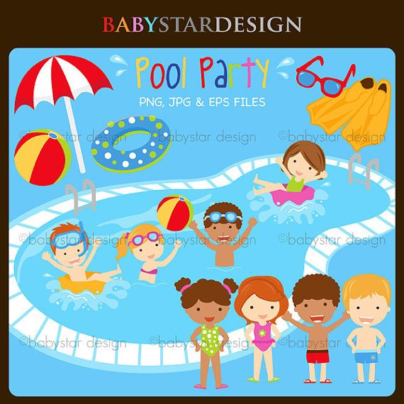 Background clipart pool party Babystardesign $6 INSTANT & best
