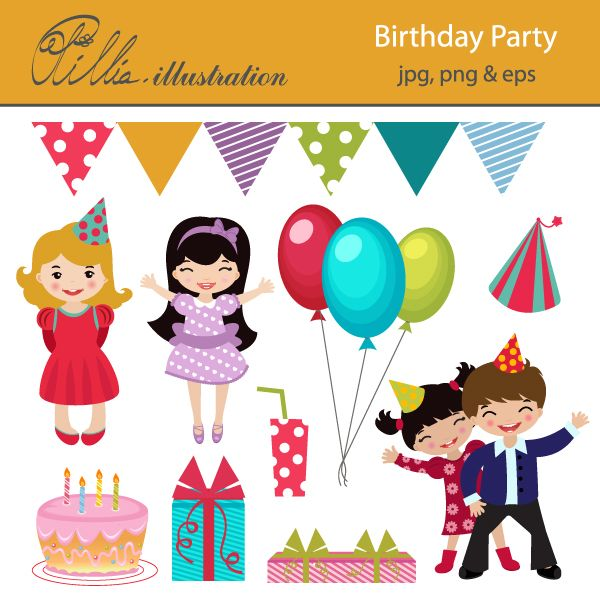 Birthday clipart children's 275 clip on kids party