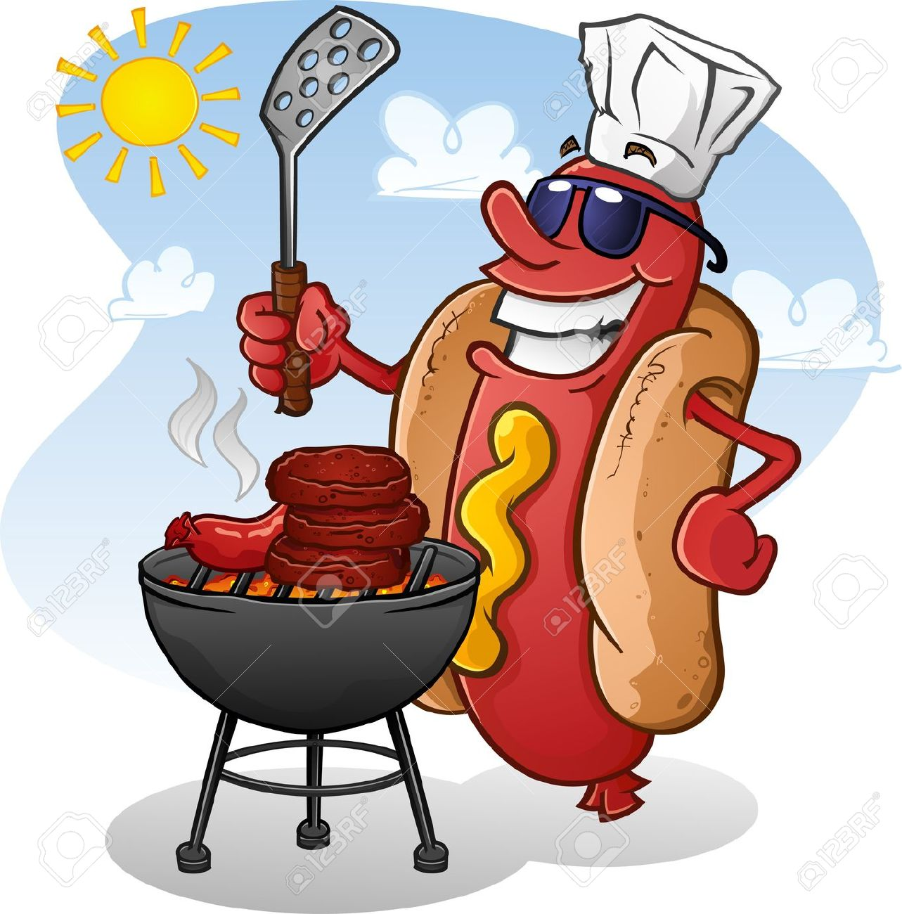 Hot Dog clipart red Summer clipart dog grilling grilling