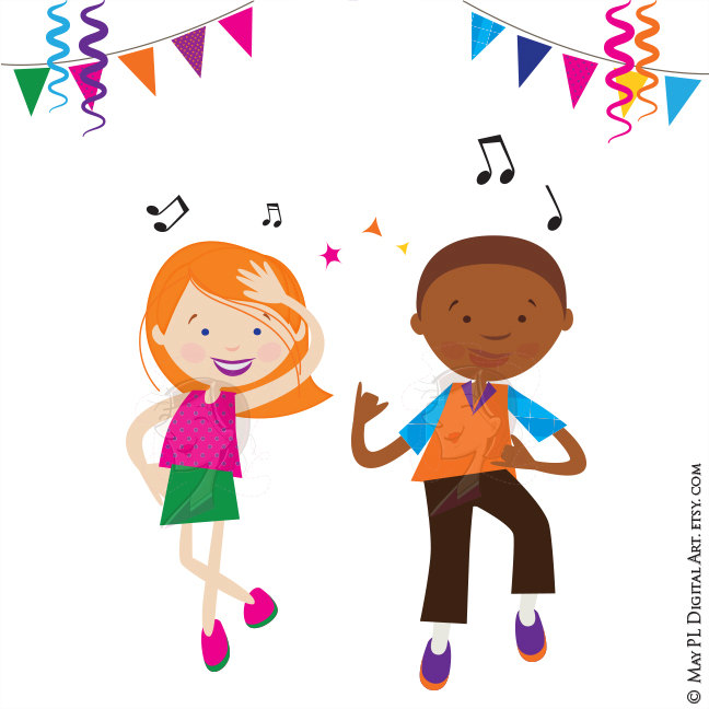 Party clipart kids disco Dance Girl Party Kids Clipart