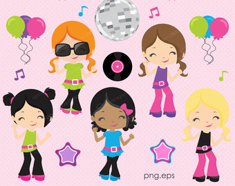 Party clipart kids disco Dance Girls Retro clipart clipart