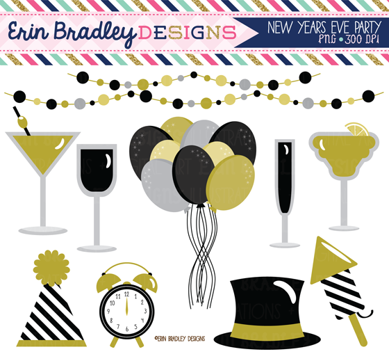 Party clipart new year's eve Balloons clipart & New hat