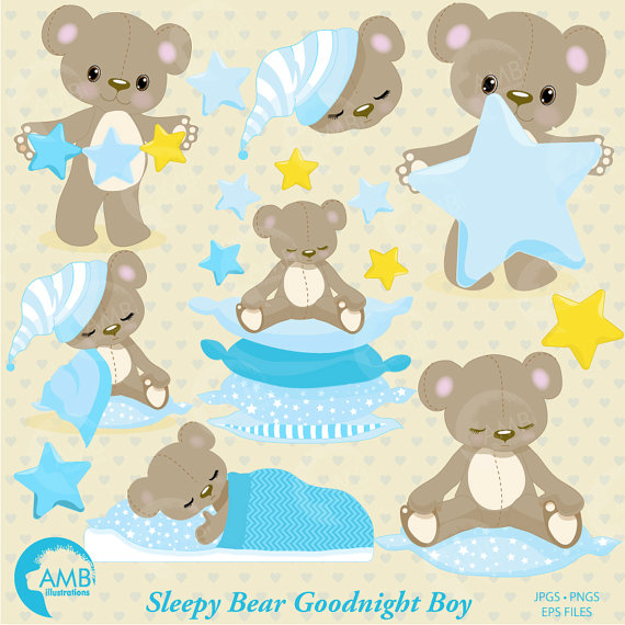 Teddy clipart baby boy Blue baby Teddy slumber party