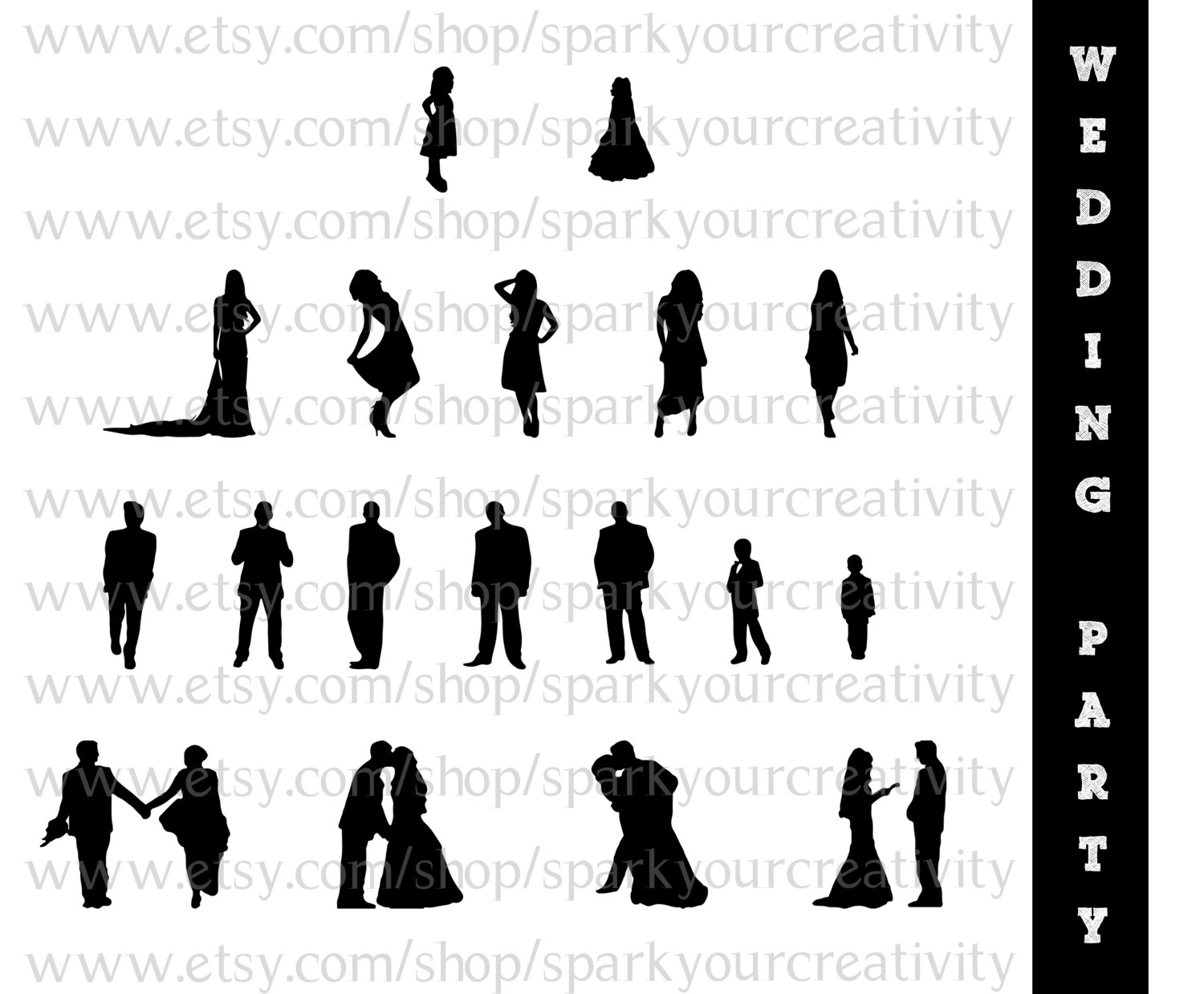 Party clipart wedding party Silhouette 101 Art 30 Art