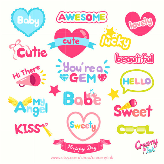 Party clipart word Card Day Party Art Digital
