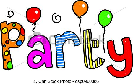 Party clipart word Illustration Stock Illustration party of