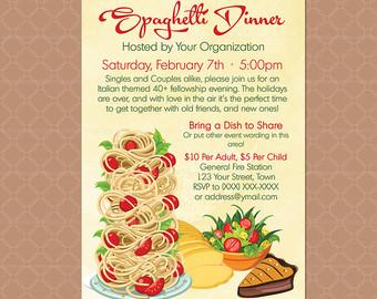 Pasta clipart dinner time Fundraiser Poster / Dinner Italian
