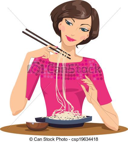 Spaghetti clipart italian person Eating Woman Beautiful woman pasta