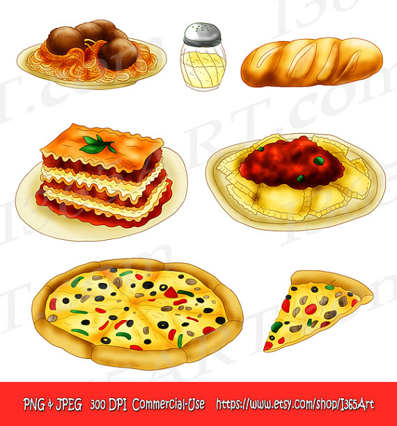 Pasta clipart pizza and pasta · art Pizza  Set