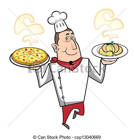 Pasta clipart pizza and pasta With Pizza Chef  Vector