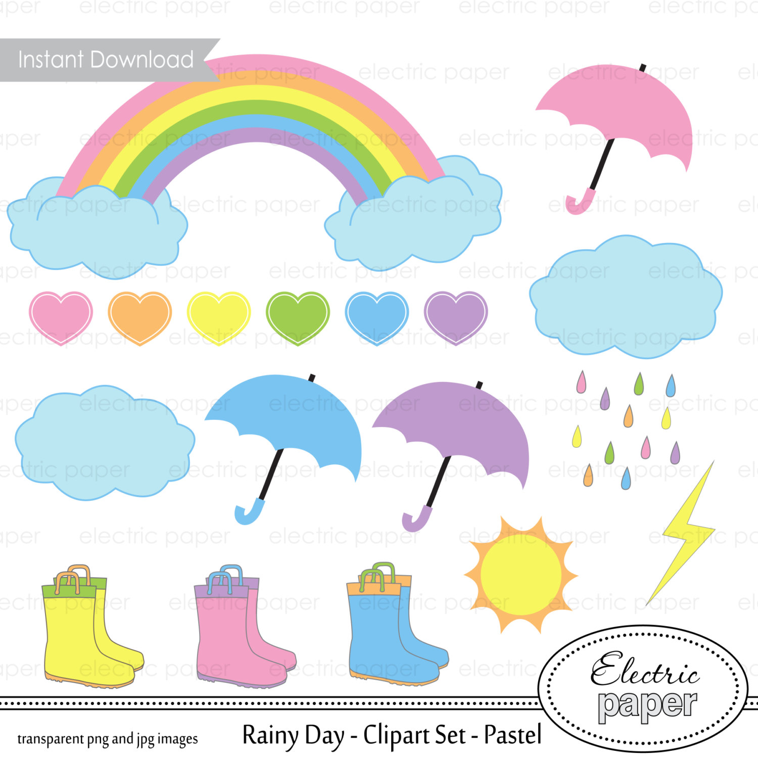 Clouds clipart pastel Pastels Rainbow Clouds Umbrella Day