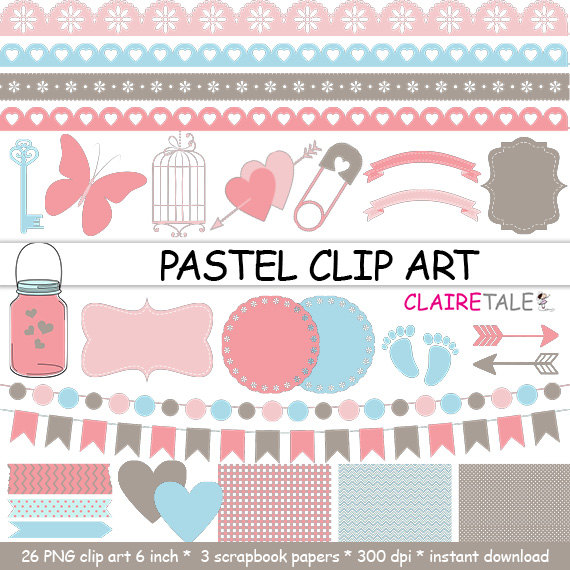 Pastel clipart baby shower