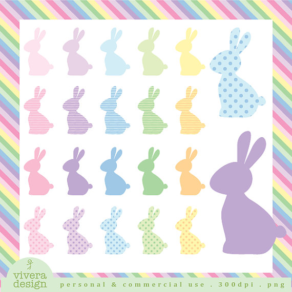Pastel clipart bunny 20 Digital Easter Silhouette bunnies