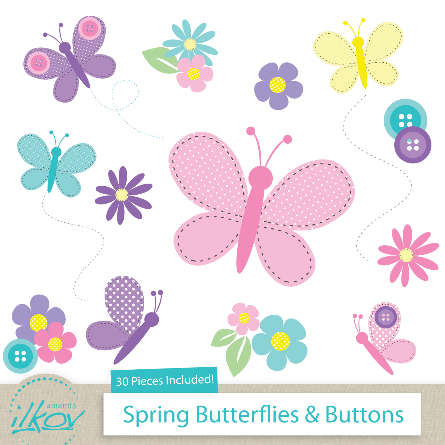 Pastel clipart button & Button Etsy Buttons for