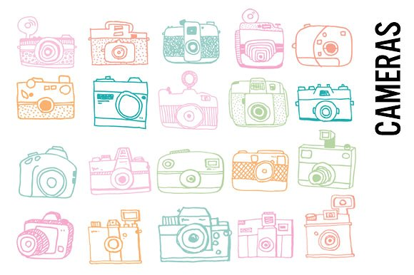 Camera clipart pastel ~ Illustrations Creative Doodles Doodles