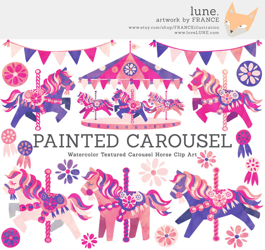 Carousel clipart pastel LUNE CAROUSEL ART CAROUSEL