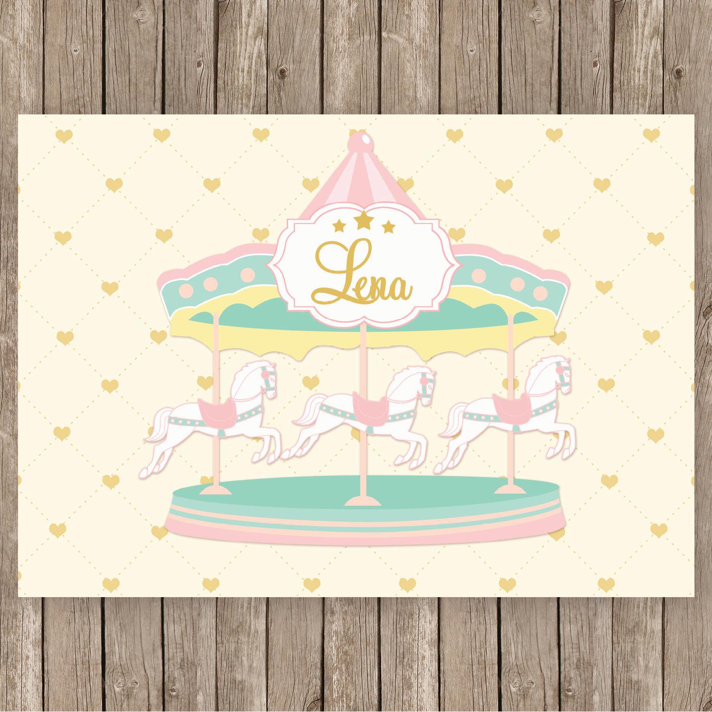 Carousel clipart pink gold Backdrop gold carousel cream printable
