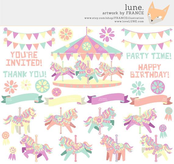 Carousel clipart pastel Cute Pastel Clipart horse Little