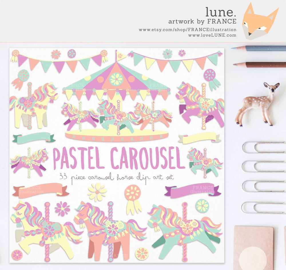 Carousel clipart pastel 2 Little Clipart Like Cute