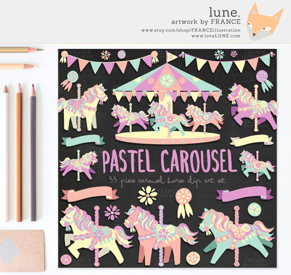 Carousel clipart pastel Is a FOR file Cute