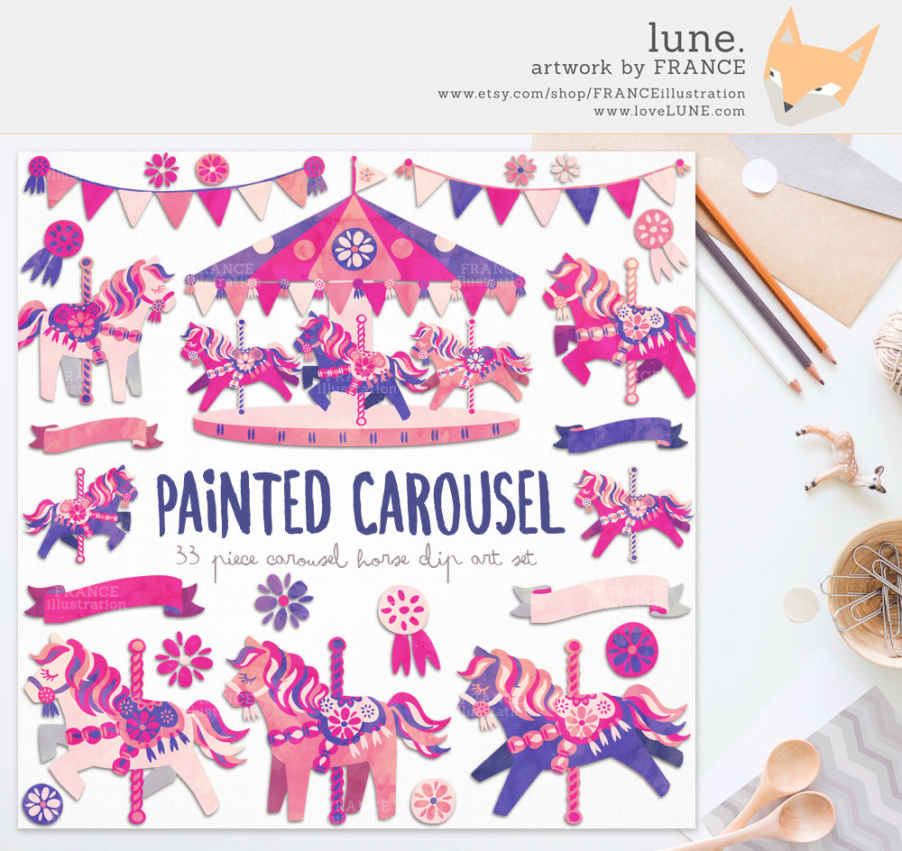 Pink clipart carousel Painted Watercolor Clip MEGA Horse