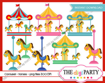 Carousel clipart merry go round Etsy carousel horses commercial toy