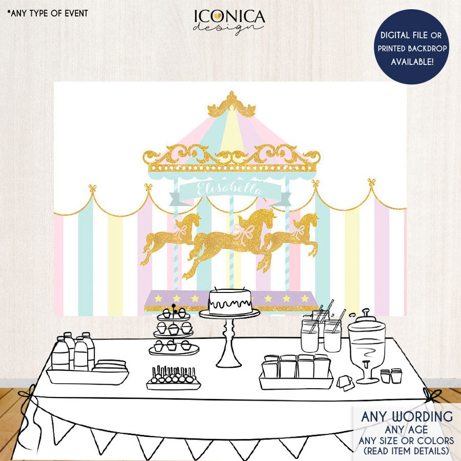 Carousel clipart pastel Decor horse Party Backdrop Etsy