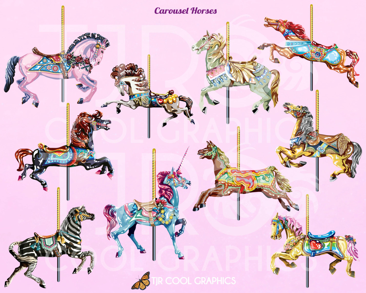 Carousel clipart unicorn Etsy Realistic Digital Clip Printable