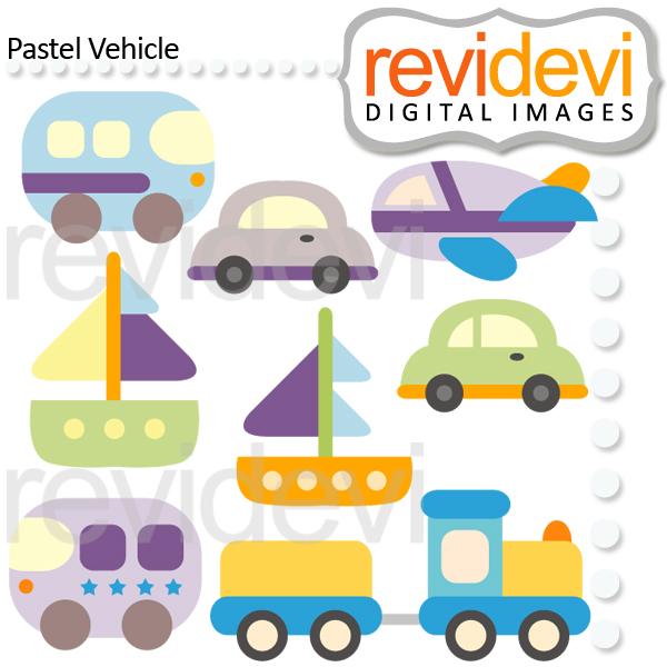 Pastel clipart choo choo train Boats Vehicles a airplane Pastel